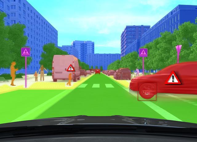 画像: カメラで認識した物体を解析した画像。車両、人物、建物、路面などが色分けされている。