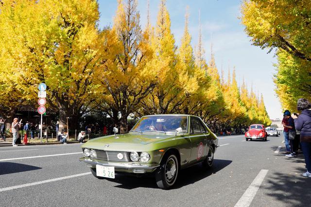 画像: いちょう並木をパレードするクラシックカーたち。ここにも多くのギャラリーが。