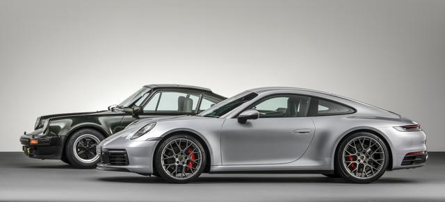 画像: 写真奥が930ターボ、手前が新型911である。タイプ992は930をオマージュしているとポルシェは語る。