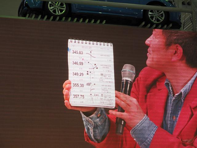 画像: 実際のコマ地図を使っての説明も行われた。コマ地図持っている方が寺田さん。(大型スクリーン)