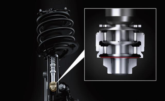 画像: ショックアブソーバのオイル流路に非着座式のバルブを設け、微小な動きに対しても流路抵抗による減衰力を発生させるスイングショックアブソーバを世界初採用。
