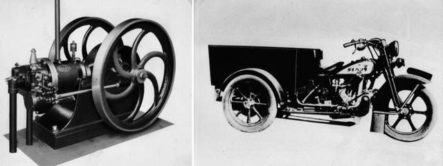 画像: ダイハツは1907年に創業した大阪の「発動機製造株式会社」が起源。もともと吸気ガス発動機や小型ディーゼルエンジン(写真左)などを製造していた。写真右は1930年に登場した小型三輪車「ダイハツ号」。
