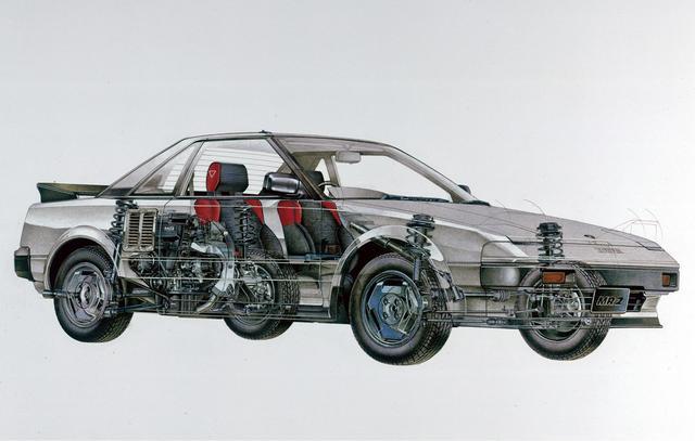 画像: 初代MR2の透視図。背中からエンジン音が聞こえるというだけで萌えたクルマ好きは多い。