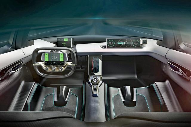 画像: モニターを多用した近未来的なインパネのイラスト。乗車定員は2名だ。