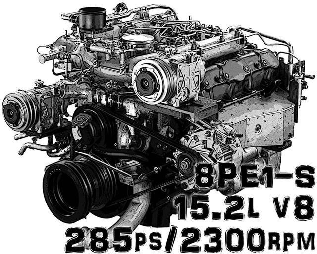 画像: 先々代のキュービック・シリーズ(1984〜2000年)に搭載されたエンジン、8PE1-S型は規制クリアのため15.2L V8で285psと、最も大排気量・大出力だった。