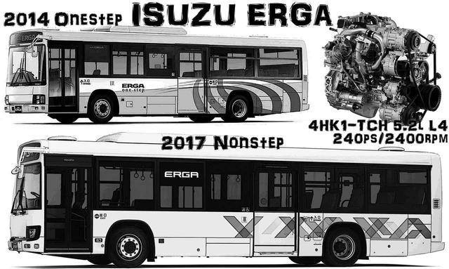 画像: いすゞのエルガ・シリーズ。画像上は現在もよく見かける2014年式初代エルガ(タテ目4灯)。下は平成28年排ガス規制と省エネを達成した最新の2017年式。79人定員、10.5m車体。参考燃費 約4.9〜5.3km/L