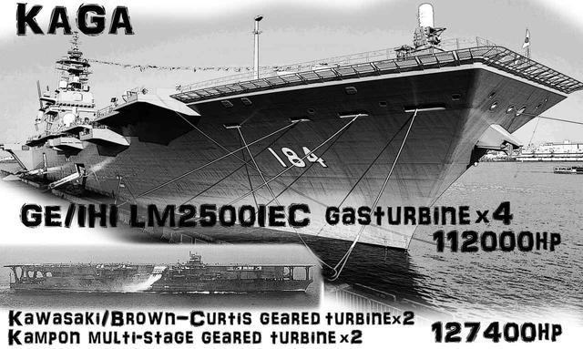 画像: 現在最大の護衛艦「かが」はヘリ空母に分類される。その大きさは旧海軍最大級の空母「加賀」に匹敵する。80年以上もの時を隔てた両者が、大きさだけでなくパワーも似たスペックなのが興味深い。