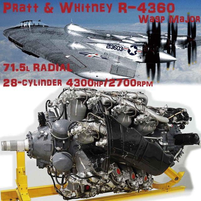 画像: 星形(ラジアル)エンジンの最高峰、74気筒×4列のプラット&ホイットニー/R-4360。第二次世界大戦後、多くの巨大機だけでなく、試作機(CGはXB-35)にも多用され、ジェットエンジンへの橋渡しとなった。