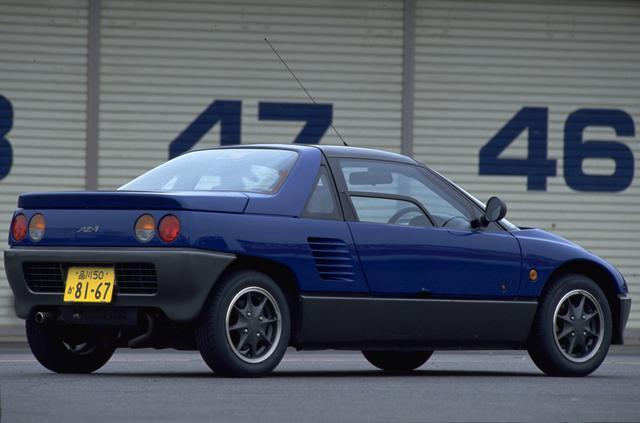 """画像: 平成1年の東京モーターショーに出展されたコンセプトカー""""AZ550 Spors""""の市販バージョンだ。軽自動車で唯一のガルウイングドアを採用するなど遊び心にあふれたモデルで平成7年まで生産された。"""