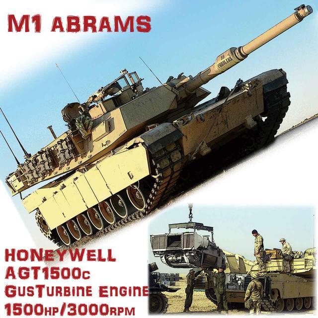 画像: 巨大な砲塔と平べったい平面装甲のフォルムは、現代的主力戦車のスタンダードといえる最適形状。整備のために吊り上げられたのは、唯一無二のガスタービン・パワーパック。簡潔にまとめられているのが良くわかる。