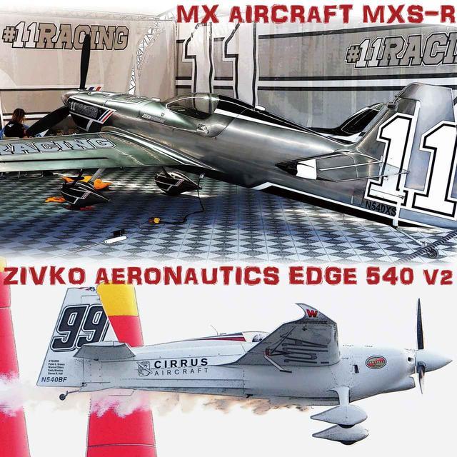 画像: 上のMXエアクラフト製MXS-Rは、フルカーボン・モノコックの機体は継目がなくツルツルだ。下のジブコ・アエロノーティクス製エッジ540-V2は、胴体後半のスポンサーロゴの周囲は布張りとわかる。