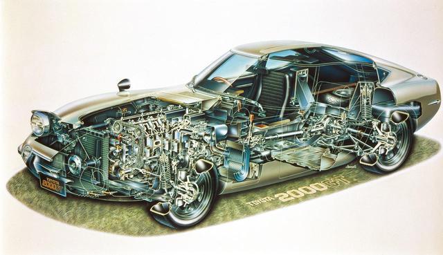 画像: トヨタ2000GTの助手席側にも同様のリッドとボックスがあり、そちらにはエアクリーナーが格納されている。