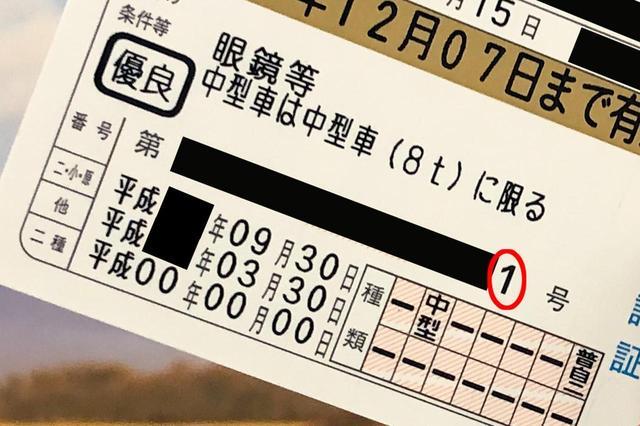 画像: これはボクの実際の運転免許証。最後の数字は「1」である。