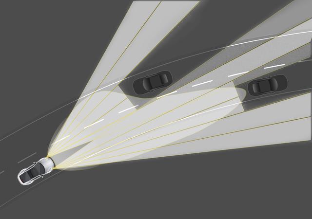 画像: PDLS付LEDマトリックスヘッドライトは先行車や対向車を検知するとフレキシブルに照射を変化させる。