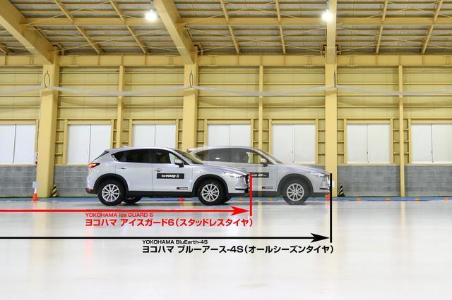 画像: スタッドレスタイヤとオールシーズンタイヤのアイス路面での制動性能の違い(イメージ)。やはり氷を掴む手応えはアイスガード6のほうが上だ。