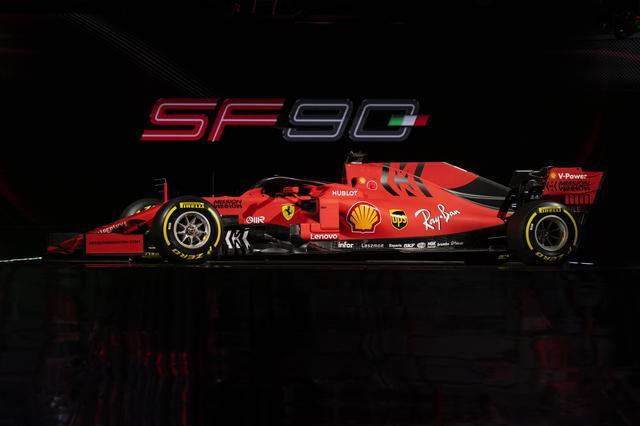 画像: 2019年用F1マシン「フェラーリSF90」。ボディカラーは伝統的なイタリアンレッドだが、新鮮なカラーリングとなった。