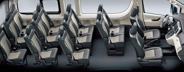 画像: コミューターの座席配置は、さまざまなレイアウトが可能で、最大17名乗車まで設定できる。