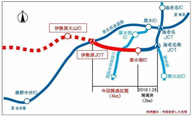 画像: 東名高速と新東名高速の位置図