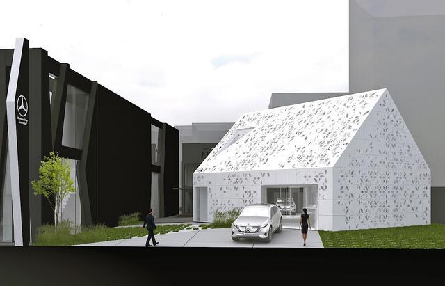 画像: EQハウス全景のイラスト。左側がメルセデス・ミー。