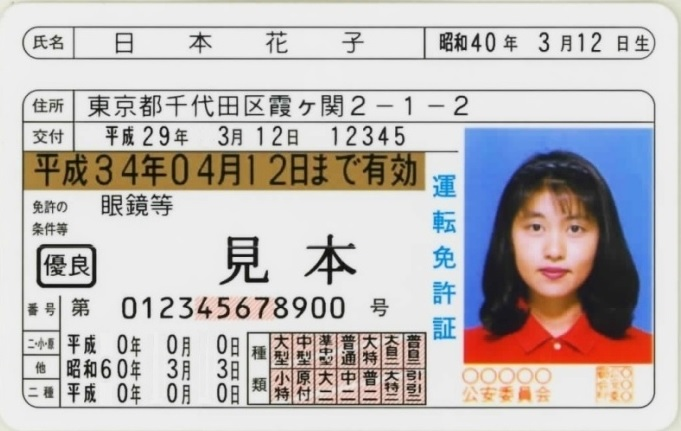 画像: 運転免許証の見本。「種類」がすべて埋まった、いわゆるフルビット免許である。出典:警察庁 www.npa.go.jp