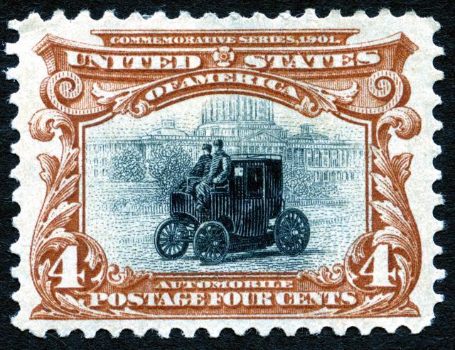 画像: 世界初の自動車切手「コロンビア号(1901年・アメリカ)」
