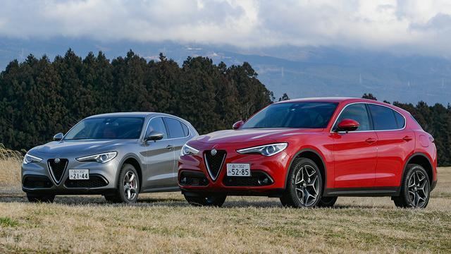 画像: 写真左はガソリン車のステルヴィオファーストエディション。今回はこの2台を乗り比べながら試乗し、それぞれの個性を確認した。