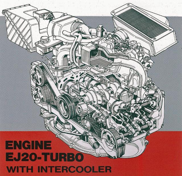 画像: オールアルミ合金製のEJ20ターボ。4カム16バルブで、WRX用は最高出力240ps/最大トルク31.0kgmを発生した。