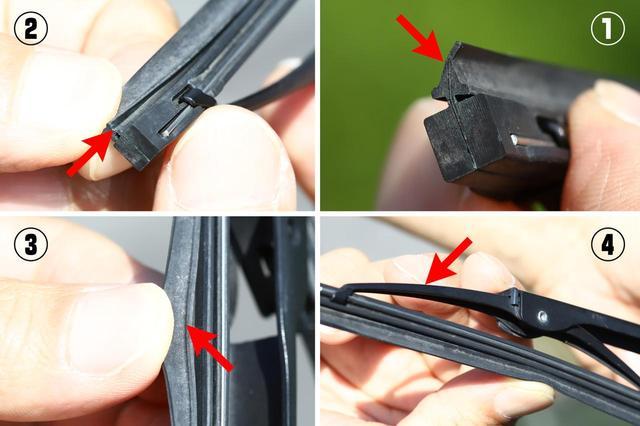 画像: ワイパー点検はこの4つ。折れ曲り/ひび割れ/切れ/ガタつきがないかチェック。