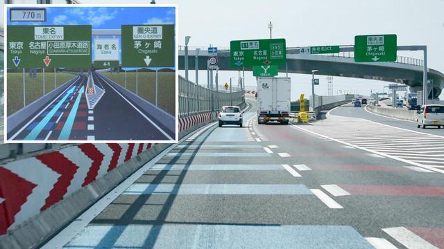 画像: カラー舗装も3D案内表示にしっかり再現。高速道路だけでなく一般道でもリアル感を高めた表示がなされる。