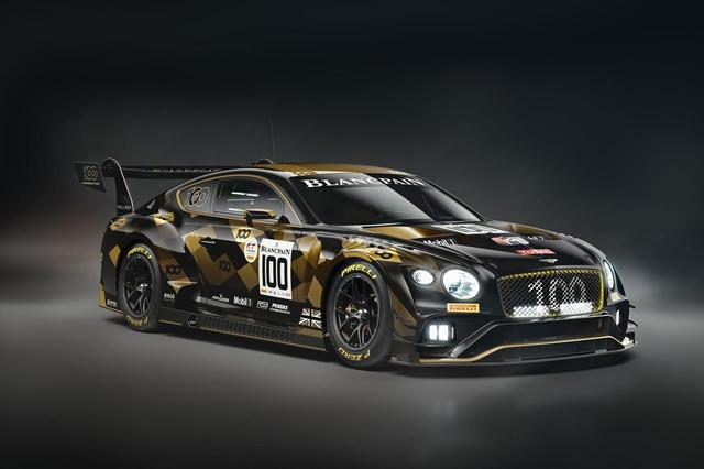 画像: 109号車/110号車はベントレーの「エキサイティングな未来」を示すブラックとセンテナリーゴールドのカラーリング。