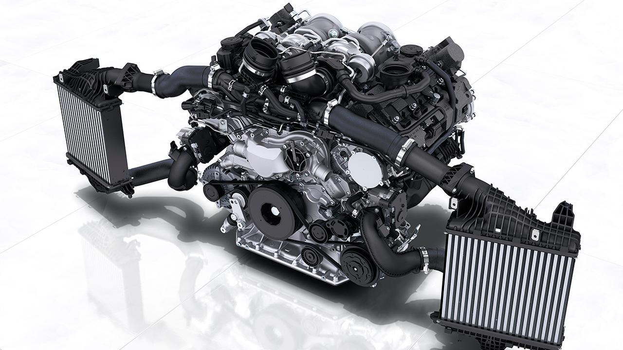 画像: カイエンターボ クーペ搭載の4リッターV8DOHCツインターボエンジン。
