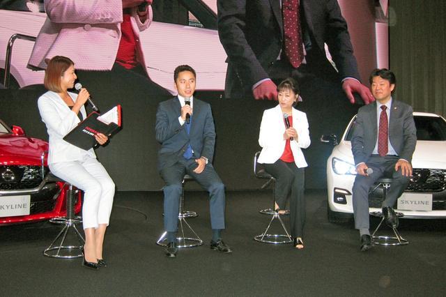 画像: トークショーで新型スカイラインについて熱く語る太田氏。