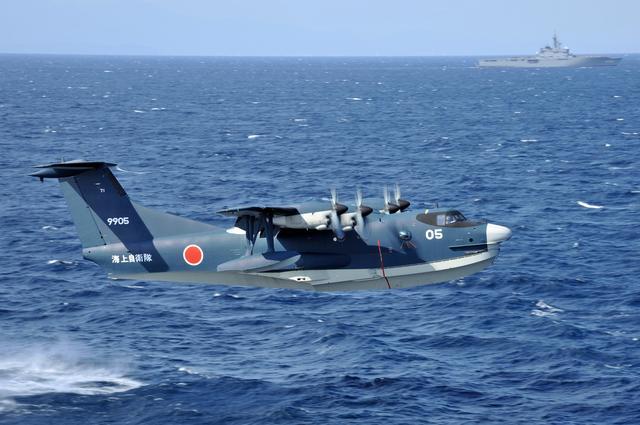 画像: US-2は、全長33.2×全幅33.2mの大型飛行艇。巡航速度は約480km/h、着水速度は約93km/hだ。