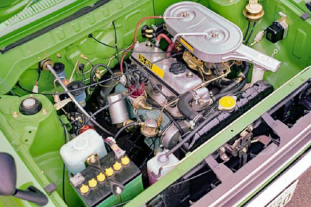 画像: 1.2Lツインキャブ仕様のパワースペックは74ps/9.5kgm。このエンジンのプレミアム仕様は、77ps/9.6kgmを発生し、SRのみに搭載された。