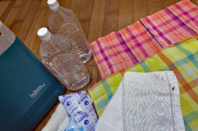 画像: 水を入れたペットボトル(凍らせる場合はボトルに注意)やタオル類は、多めに用意しておきたい。