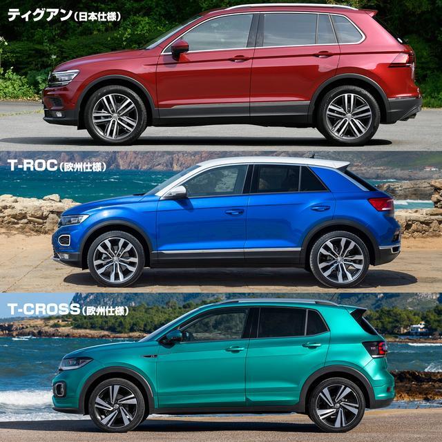 画像: ティグアンとTロック、Tクロスのおおよそのサイズを比較(フロントホイールのセンターで位置揃え)。日本仕様のティグアンのサイズは4500×1840×1675mmとなっている。