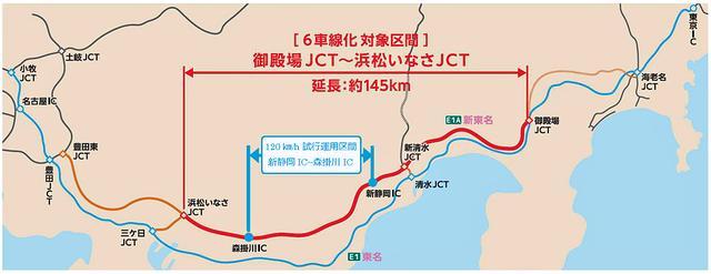 画像: 今回の規制区間は、御殿場JCT〜浜松いなさJCT間の約145kmの一部となる。