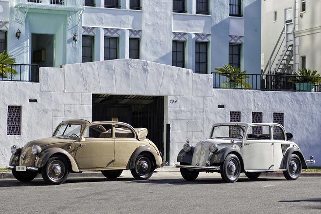 画像: 左が170H、右が130。とくに170Hは車体が丸みを帯び、フォルクスワーゲンに似ている。シャシの設計も似ていたが、メルセデスRRのエンジンは水冷直列4気筒だった。