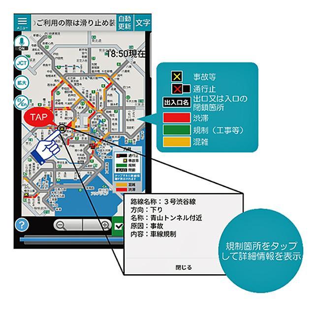 画像: 首都高の道路交通情報スマホアプリ「mew-ti」のイメージ画像
