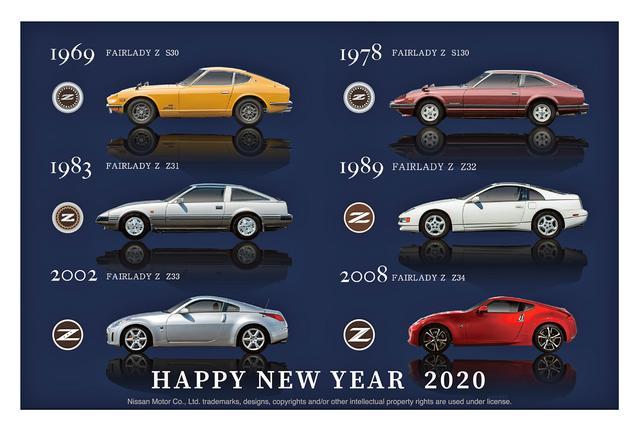 画像: フェアレディZも、初代のS30型から現行のZ34型まで歴代6モデルのサイドビューが描かれている。