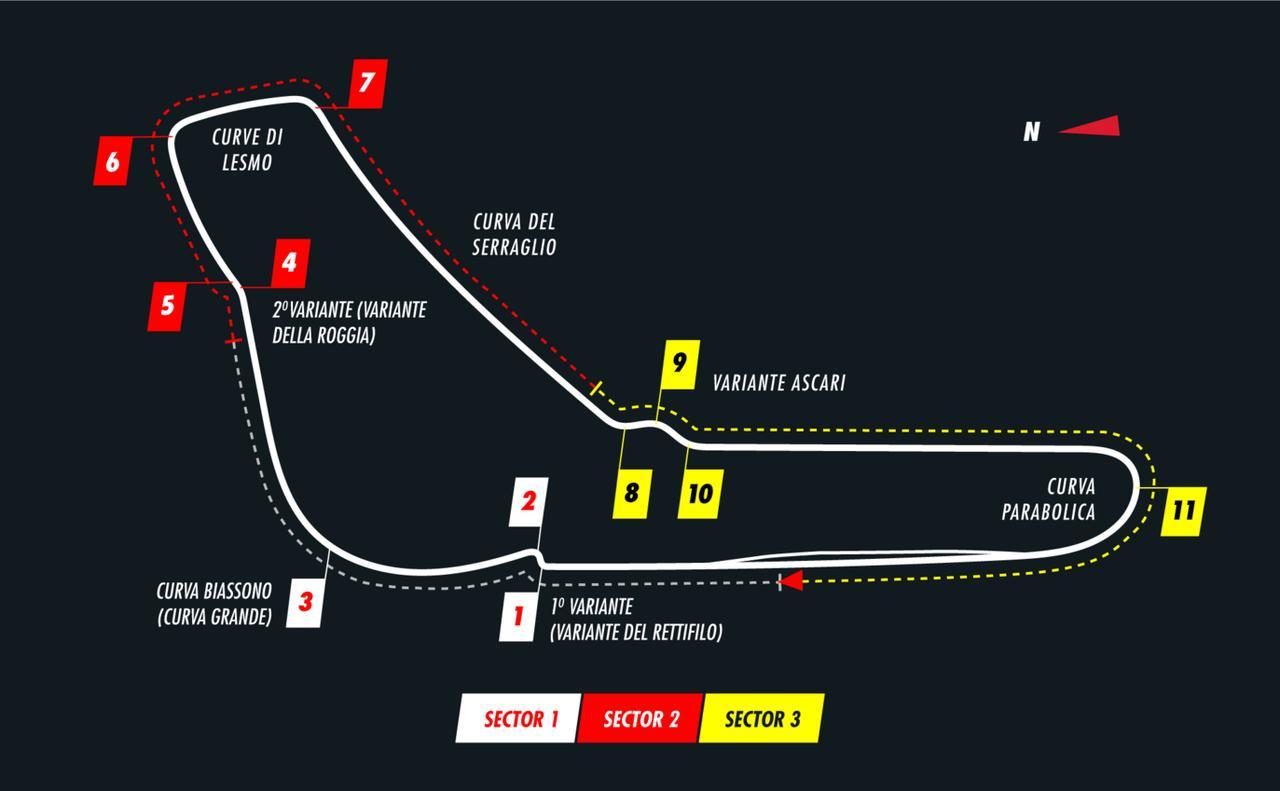 画像: イタリアGPが行われるモンツァ・サーキットのコース図。スパ・フランコルシャンのような高低差はなく、平均速度はこちらのほうが高い。