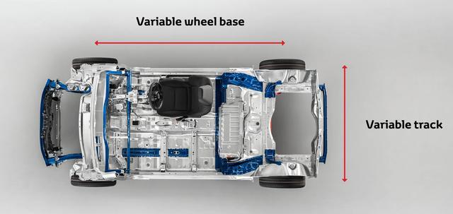 画像: ホイールベース、トレッド(トラック)とも可変として、対応車種のバリエーションを拡げている。(TNGA-B)