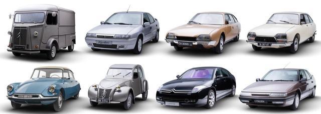 画像: 展示車両の一部。上段左からタイプH、エグザンティア、CX、GS。下段左から、ID19、2CV、C6、XM。