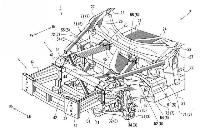 画像: フロント部分は完全なスペースフレーム構造で、サスペンション形式もマツダ・スポーツカー伝統のダブルウイッシュボーンを採用。エンジンコンパートメントがコンパクトにまとめられたフロントミッドシップになっている。(公開特許より)