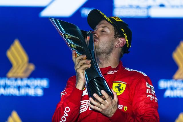 画像: 今季初優勝を飾ったフェラーリのセバスチャン・ヴェッテル。