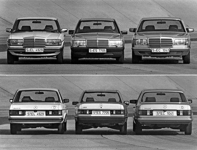 画像: 左がミディアムのW123型、右がSクラスのW126型。小型で新しいとはいえ、190シリーズもメルセデスそのもののデザインだった。