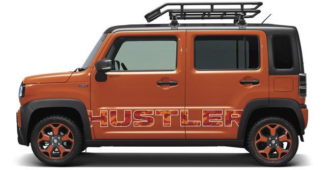 画像: アウトドア風にアレンジされたハスラーコンセプト。タイヤもオフロード仕様の特別製。