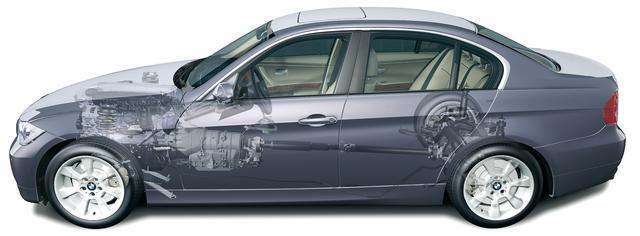 画像: E90型3シリーズのメカニズム図。前後の重量配分は50:50。