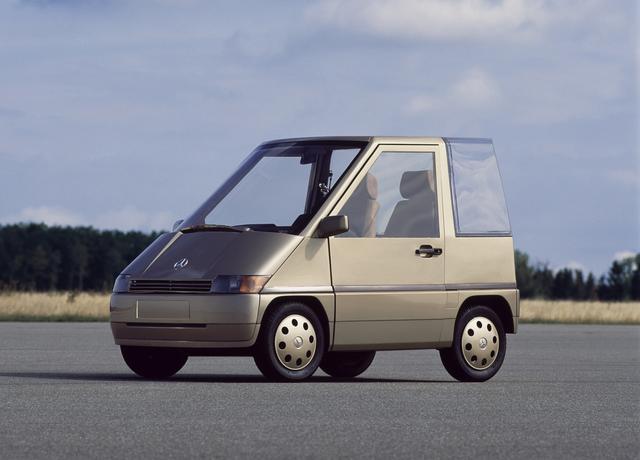 画像: 1980年代初頭にメルセデスが開発した超小型車のNAFA。後のスマートにつながる研究となった。全長2.5mは市販型スマートと同じだった。
