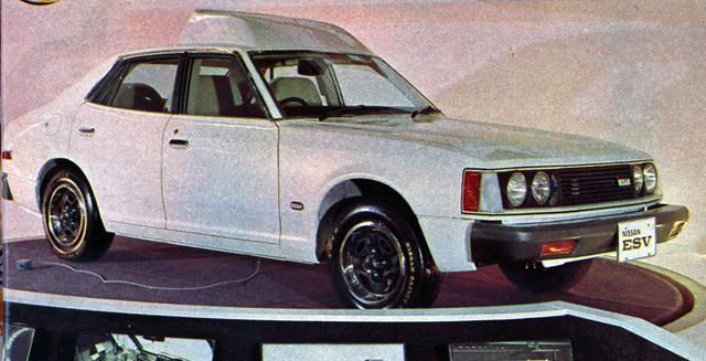 画像: 1972年の19回ショーに出展された日産のESV(Experimental Safety Vehicle:実験安全車)。ベース車はブルーバードU。